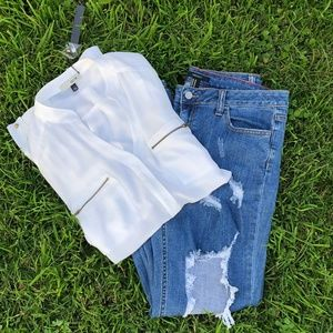 Forever 21 Straight Leg Jeans Distressed Ripped